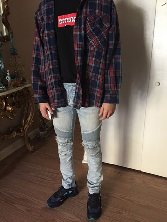How to wear: red and navy plaid long sleeve shirt, black print crew-neck t-shirt, light blue ripped skinny jeans, navy athletic shoes