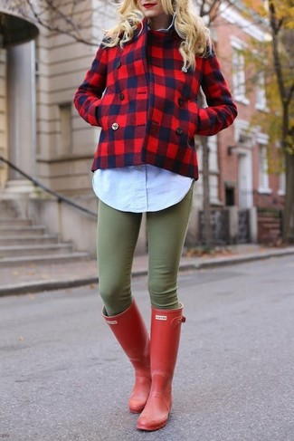 Opt for a red pea coat and olive green skinny jeans to create a chic, glamorous look. Dress down this getup with red rain boots.