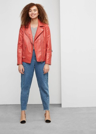 How to wear: red leather biker jacket, white and black horizontal striped crew-neck t-shirt, blue boyfriend jeans, black and tan leather pumps