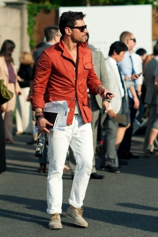 This combination of a red blazer and white casual pants is an interesting balance between classy and cool. Elevate this getup with cream suede derby shoes. You know when it's super hot outside, sometimes only a proper outfit like this one can get you through the day.