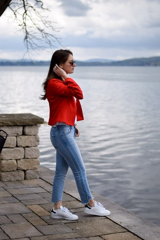 How to wear: red blazer, white tank, light blue jeans, white and black leather low top sneakers