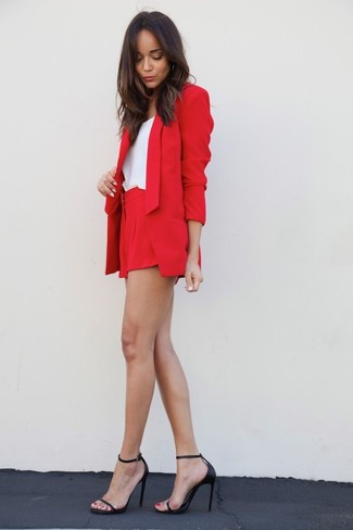 Let everyone know that you know a thing or two about style in a red blazer and shorts. Black leather heeled sandals will add a touch of polish to an otherwise low-key look.
