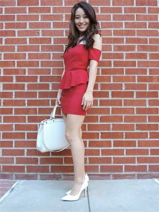 Women's Red Ruffle Bodycon Dress, White Leather Pumps, White Leather Tote Bag, White Pearl Necklace