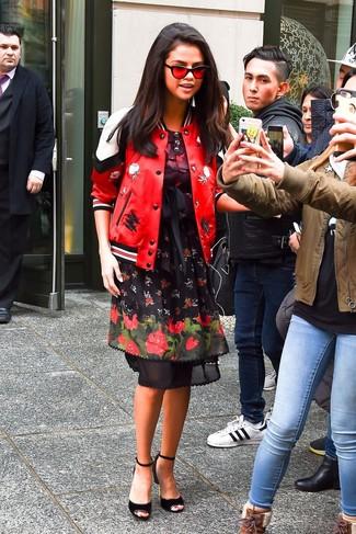 How to wear: red leather bomber jacket, black floral skater dress, black suede heeled sandals, red sunglasses