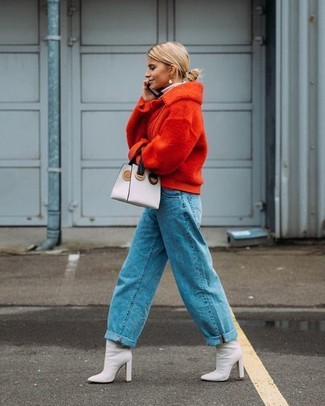 How to wear: red wool bomber jacket, blue boyfriend jeans, white leather ankle boots, white leather clutch