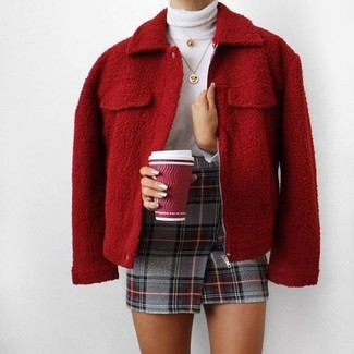 Marry a red wool bomber jacket with a gold pendant for a casual get-up. When spring is in the air, you'll love this combo as your favorite for weird transition weather.