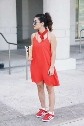 How to wear: red cami dress, red low top sneakers, tan straw clutch, red bandana