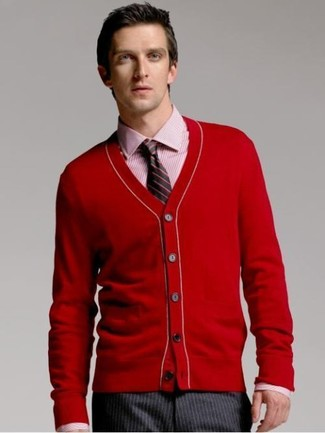 How to wear: red cardigan, red vertical striped dress shirt, charcoal vertical striped dress pants, black vertical striped tie