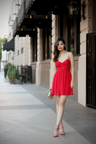 How to Wear Red Leather Heeled Sandals: Make a chic statement anywhere you go by wearing a red chiffon party dress. We love how this whole look comes together thanks to a pair of red leather heeled sandals.
