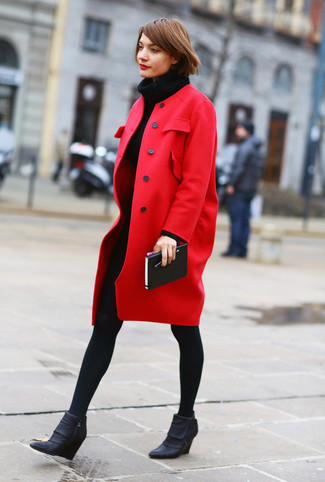 How to wear: red coat, black knit sweater dress, black leather wedge ankle boots, black wool tights