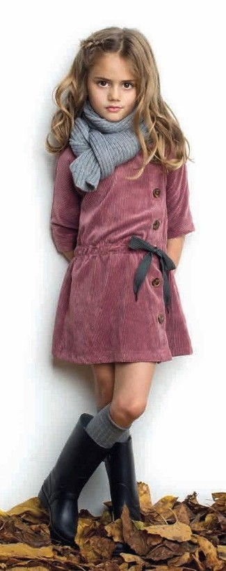 How to wear: red corduroy dress, black rain boots, grey scarf