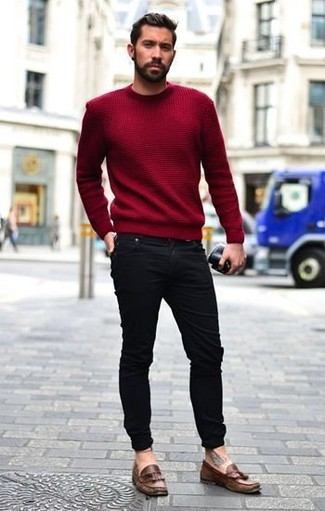 How to wear: red crew-neck sweater, black skinny jeans, brown leather tassel loafers