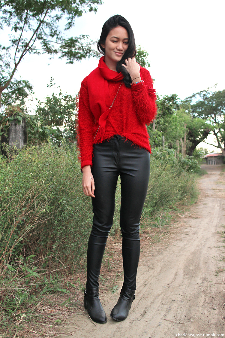 Women's Red Fluffy Crew-neck Sweater, Black Leather Skinny Pants ...