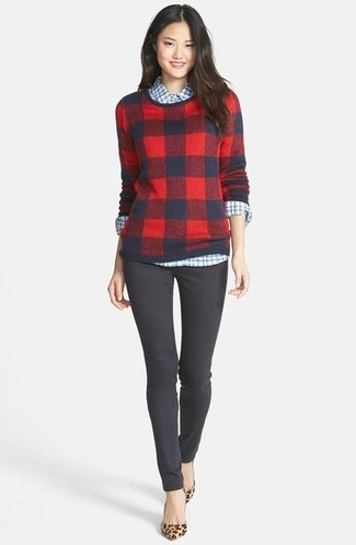Women's Red Plaid Crew-neck Sweater, White and Blue Gingham Dress Shirt, Charcoal Skinny Pants, Tan Leopard Suede Pumps