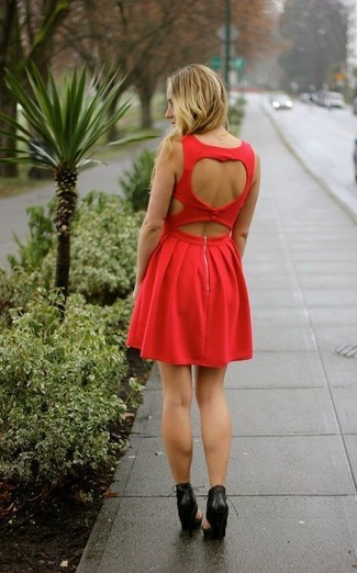 How to wear: red cutout skater dress, black cutout leather pumps