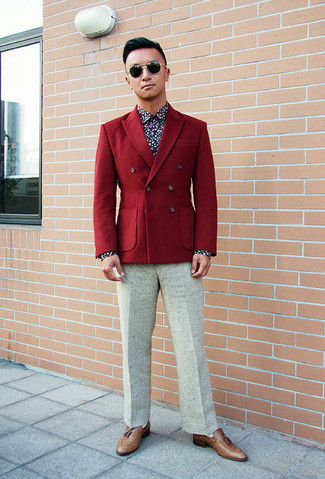 Something as simple as opting for a navy and white floral shirt and white wool suit pants can potentially set you apart from the crowd. For footwear go down the casual route with brown leather tassel loafers.