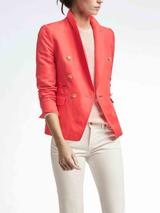How to wear: red double breasted blazer, pink crew-neck sweater, white skinny jeans