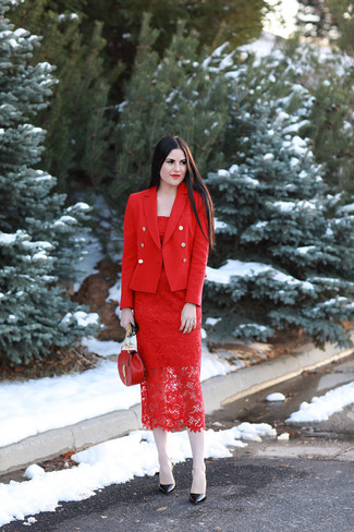 How to wear: red double breasted blazer, red lace sheath dress, black leather pumps, red leather crossbody bag