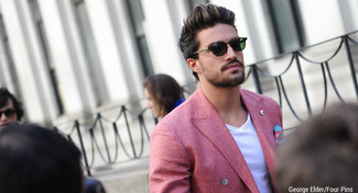 How to wear: red double breasted blazer, white v-neck t-shirt, blue print pocket square, dark green sunglasses