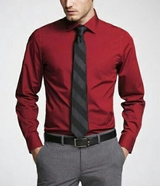 5eecf148add2 How to wear: red dress shirt, grey dress pants, black vertical striped tie