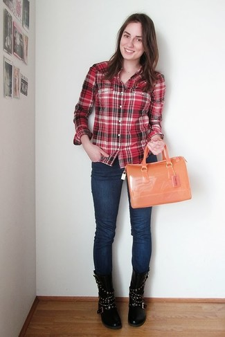 7d5bedfc091 ... Women s Red Plaid Dress Shirt