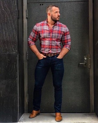 How to wear: red plaid dress shirt, navy skinny jeans, tan leather double monks, brown leather belt