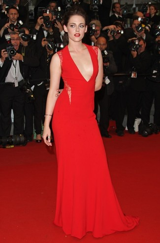 Kristen Stewart wearing Red Evening Dress