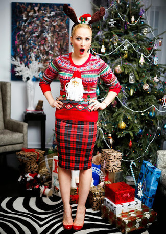 Women's Red Fair Isle Crew-neck Sweater, Red and Black Plaid ...