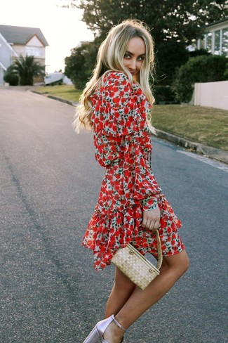 How to wear: red floral skater dress, pink leather heeled sandals, beige straw handbag