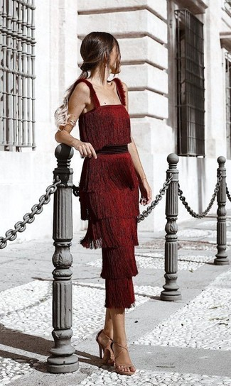 How to wear: red fringe midi dress, tan leather heeled sandals