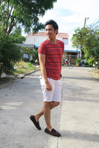 Menu0026#39;s Red Geometric Crew-neck T-shirt White Vertical Striped Shorts and Dark Brown Suede Boat ...