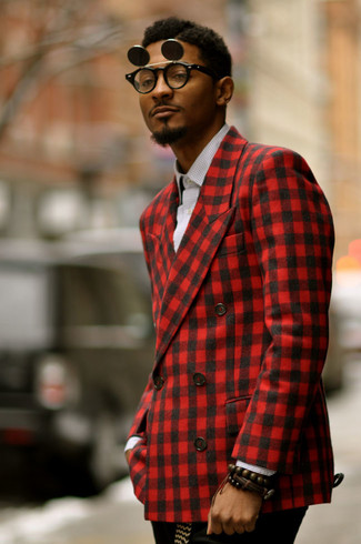How to wear: red gingham blazer, white and black gingham long sleeve shirt