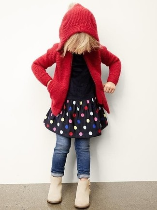 How to wear: red knit hoodie, black polka dot dress, navy jeans, beige boots