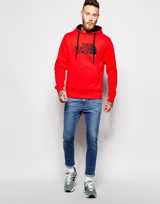 How to Wear a Red Print Hoodie For Men: A red print hoodie and blue skinny jeans are a bold casual pairing that every modern gent should have in his casual wardrobe. And if you wish to instantly polish up this outfit with footwear, add green suede low top sneakers to the mix.