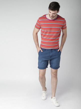Men's Red Horizontal Striped Crew-neck T-shirt, Navy Shorts, White ...
