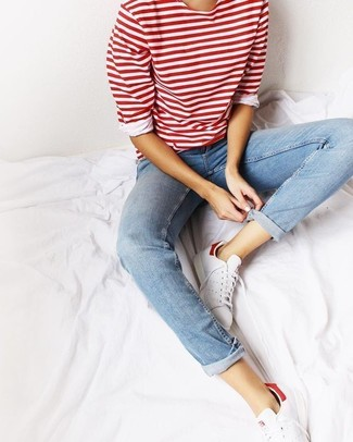 9bc6f377a887 ... Women's Red Horizontal Striped Long Sleeve T-shirt, Light Blue Jeans,  White Low
