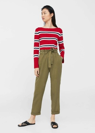 How to wear: red horizontal striped long sleeve t-shirt, olive tapered pants, black leather flat sandals