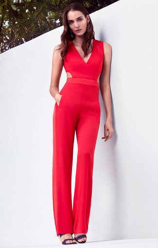 321dfe576b How to Wear a Red Jumpsuit (45 looks   outfits)