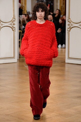 How to wear: red knit oversized sweater, burgundy corduroy wide leg pants, black velvet ankle boots