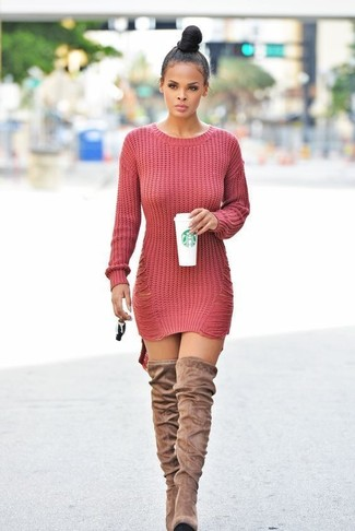 How to Wear Tan Suede Over The Knee Boots: Reach for a red knit sweater dress for a casual and trendy outfit. Finishing off with a pair of tan suede over the knee boots is a surefire way to infuse an added dose of style into this outfit.