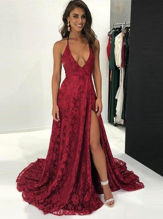 How to wear: red slit lace evening dress, silver chunky leather heeled sandals, red earrings