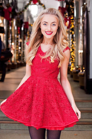 How to wear: red lace fit and flare dress, black tights