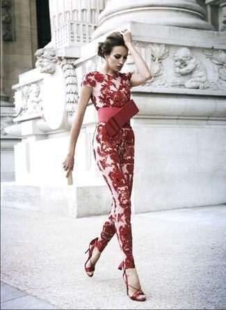 292d4f829e44 Naeem Khan Nem Khan Long Sleeve Plunging Lace Jumpsuit Red, $3,990 ...