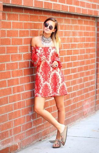 Women's Red Lace Off Shoulder Dress, Beige Suede Flat Sandals, Silver Necklace