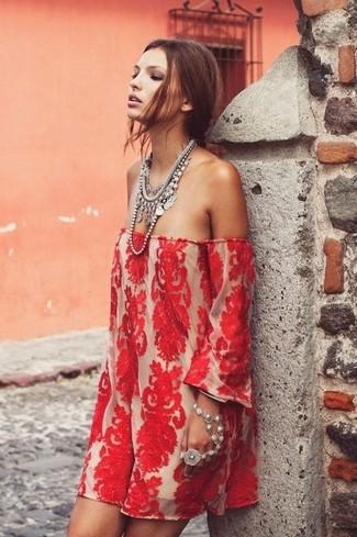 Women's Red Lace Off Shoulder Dress, Silver Necklace, Silver Bracelet
