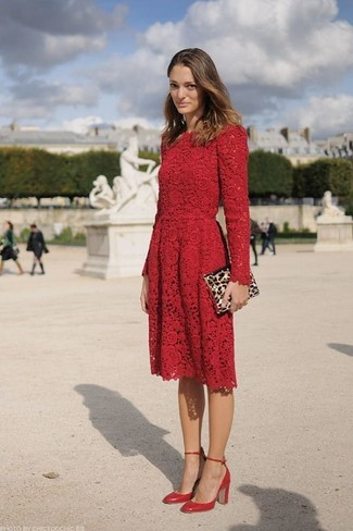 How to wear: red lace skater dress, red leather pumps, tan leopard suede clutch