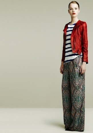 Women's Red Leather Biker Jacket, White and Navy Horizontal Striped Sleeveless Top, Green Paisley Wide Leg Pants