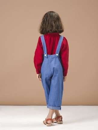 Girls' Looks & Outfits: What To Wear Casually: Suggest that your daughter pair a red long sleeve blouse with blue overalls to create a cool, stylish look. This style is complemented brilliantly with red sandals.