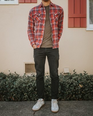 White and Red Leather Low Top Sneakers Outfits For Men: To don an off-duty getup with a fashionable spin, wear a red plaid long sleeve shirt with black jeans. White and red leather low top sneakers will tie your whole getup together.