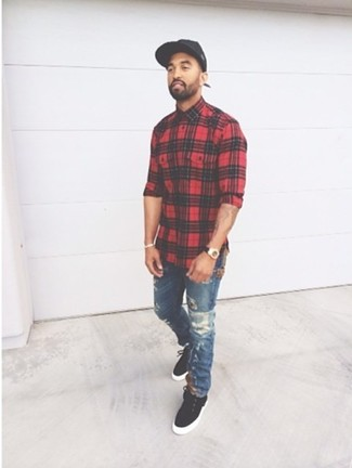 Men's Red Plaid Long Sleeve Shirt, Navy Ripped Jeans, Black Suede ...